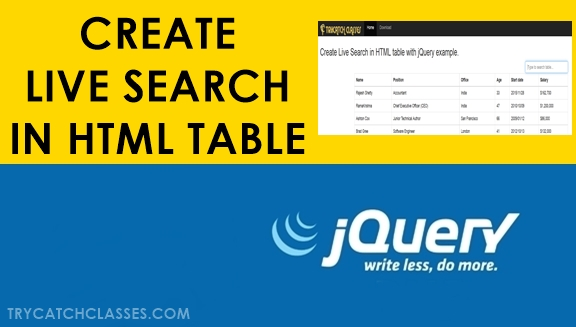 Create Live Search in HTML Table