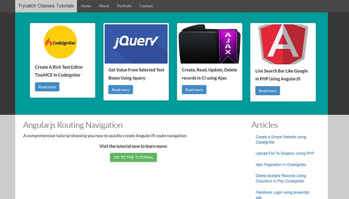 AngularJS Navigation Bar Example Using Simple Routing