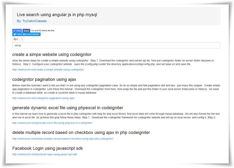 Live Search Bar Like Google Using AngularJS