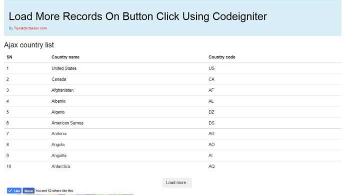 Load More Records On Button Click Using Codeigniter