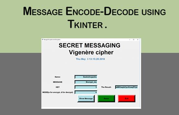 Message Encode-Decode using Tkinter
